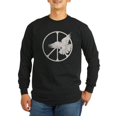 Peace Sign Dove Men's Long Sleeve Dark T-Shirt