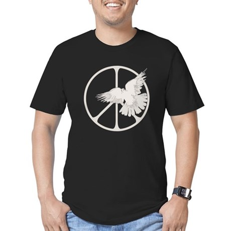 Peace Sign Dove Men's Fitted Dark T-Shirt