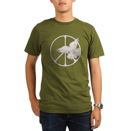 Peace Sign Dove Organic Men's Dark T-Shirt
