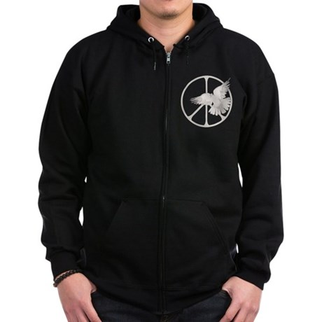 Peace Sign Dove Men's Dark Zip Hoodie