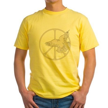 Peace Sign Dove Men's Yellow T-Shirt