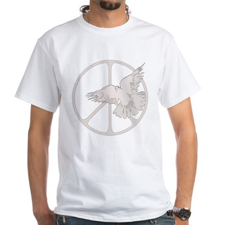 Peace Sign Dove Men's White T-Shirt