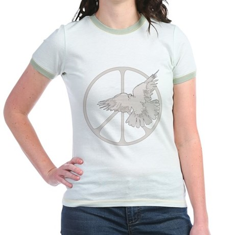 Peace Sign Dove Junior Ringer T-Shirt