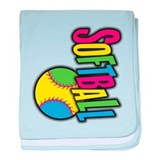 Girls Softball Infant Blanket
