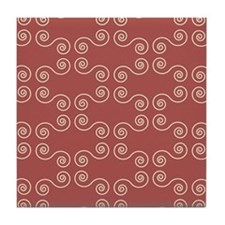 Pink Curves Pattern Tile Coaster