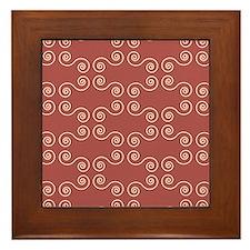 Pink Curves Pattern Framed Tile