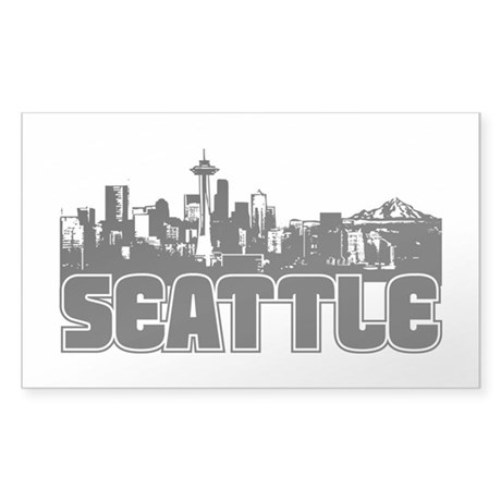 Seattle Skyline Sticker (Rectangle)