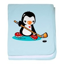 Popo Plays Ice Hockey baby blanket
