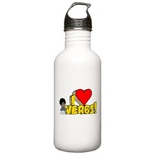 I Heart Verbs - Schoolhouse R Water Bottle