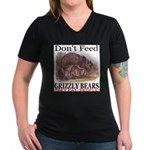 Don't Feed Grizzly Bears They Women's V-Neck Dark