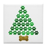 Dog's Christmas Tree Tile Coaster