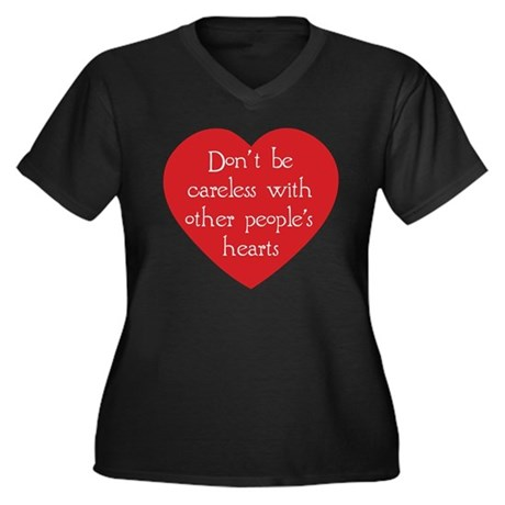 Don't be Careless Women's Plus Size V-Neck Dark T-Shirt