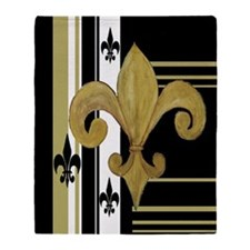 Gold and multi black fleur de Throw Blanket