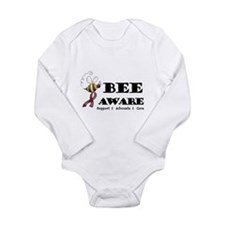 Bee Aware - Burgundy Long Sleeve Infant Bodysuit