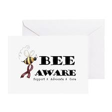 Bee Aware - Burgundy Greeting Card