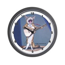 Folk Singer/Guitar Player Cat Wall Clock