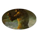 Goya Colossus Fantasy Quote Oval Sticker