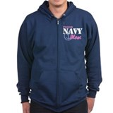 Proud Navy Mom Zipped Hoodie
