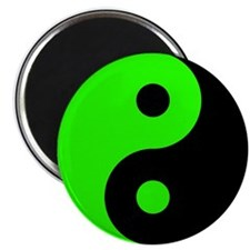 "Green-Black Yin Yang 2.25"" Magnet (10 pack)"