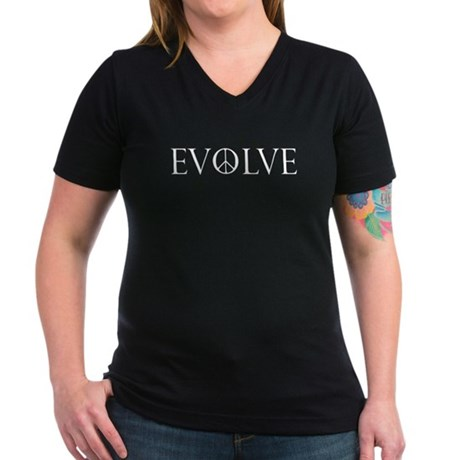 Evolve Peace Perpetua Women's V-Neck Dark T-Shirt
