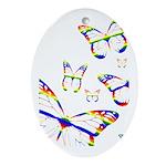 Rainbow Butterfly Oval Ornament