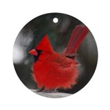 Windblown Cardinal Ornament (Round)