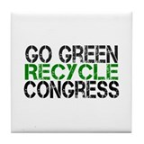 Go Green Recycle Congress Tile Coaster