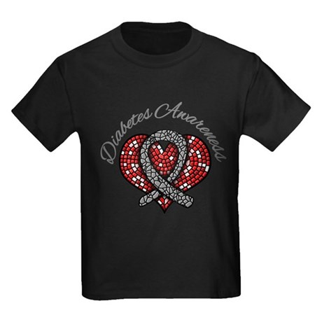 Diabetes Mosaic Ribbon Kids Dark T-Shirt