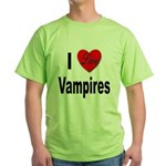 I Love Vampires (Front) Green T-Shirt