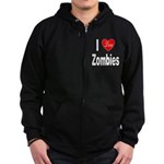I Love Zombies (Front) Zip Hoodie (dark)