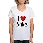 I Love Zombies (Front) Women's V-Neck T-Shirt