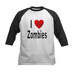 I Love Zombies Kids Baseball Jersey