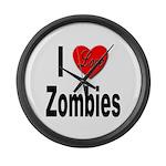 I Love Zombies Large Wall Clock