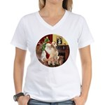Santa's Lab (Y-lap) Women's V-Neck T-Shirt