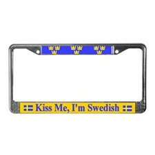 Kiss Me I'm Swedish License Plate Frame