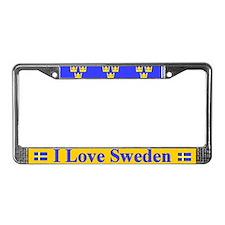 I Love Sweden License Plate Frame