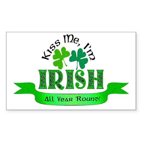 Kiss Me I'm Irish Rectangle Sticker