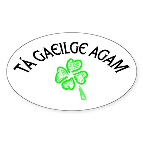 T Gaeilge Agam Oval Sticker