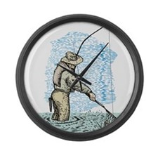 Fly fishing trout Large Wall Clock