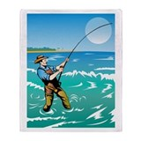 surf casting fishing Throw Blanket