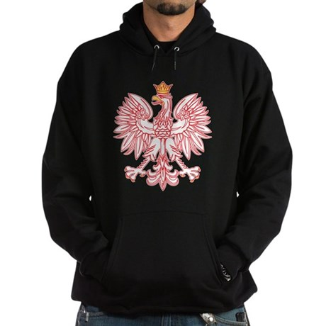 Polish Eagle Outlined In Red Hoodie (dark)