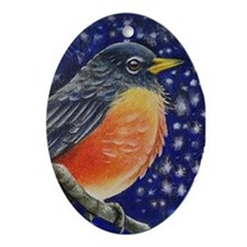 Robin Bird Ornament (Oval)