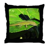 Green Anole on Leaf Throw Pillow
