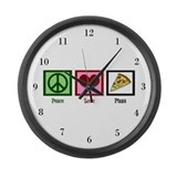 Peace Love Pizza Large Wall Clock