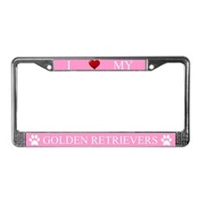 Pink I Love My Golden Retrievers Frame