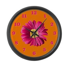 Pop Art Fuchsia Daisy Large Wall Clock