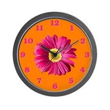 Pop Art Fuchsia Daisy Wall Clock