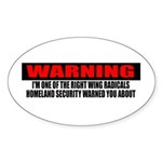 Right Wing Radical Sticker (Oval 10 pk)