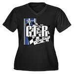 GTR Racing Women's Plus Size V-Neck Dark T-Shirt