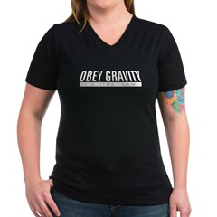 Obey Gravity Women's V-Neck Dark T-Shirt